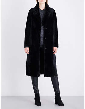 Drome Ladies Black Luxurious Single-Breasted Reversible Shearling And Leather Coat