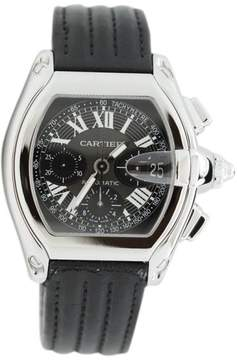 Cartier Roadster Chronograph Tachymeter Black Dial Alligator Strap Watch