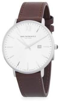 Bruno Magli Slim Case Leather Strap Watch
