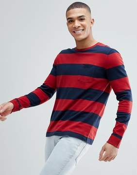 Abercrombie & Fitch Crew Neck Pocket Long Sleeve Top Block Stripe in Red/Navy