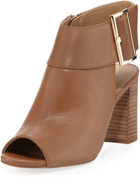 Neiman Marcus Berg Leather Zip-Up Bootie, Brown