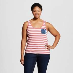 Fifth Sun Women's Plus Size Americana Stripe & Star Pocket Graphic Tank Top Navy