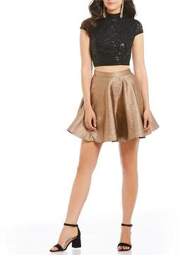 Jodi Kristopher Lace Top with Metallic Skirt Two-Piece Dress