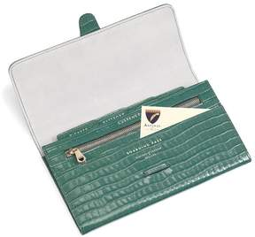 Aspinal of London Classic Travel Wallet In Deep Shine Sage Small Croc