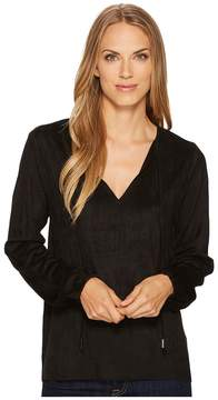True Grit Dylan by Bandit Faux Suede Hi-Lo Tie Blouse Women's Blouse