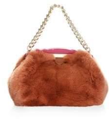 Edie Parker Aliza Rabbit Fur Top Handle Bag