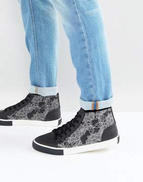 Asos Mid Top Sneakers In Black And White With Contrast Pattern