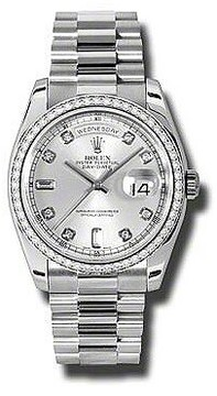 Rolex Day-Date Silver Dial Platinum President Automatic Ladies Watch
