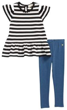 Kate Spade stripe cold shoulder tee & leggings set