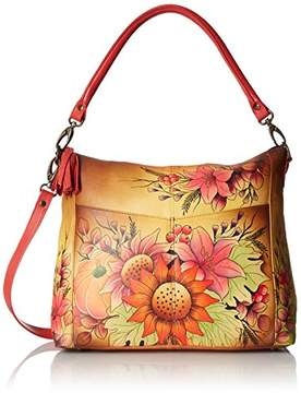 Anuschka Anna by Women's Genuine Leather Convertible Shoulder Handbag | Hand Painted Original Artwork | Zip-Top Crossbody | Fall Bouquet