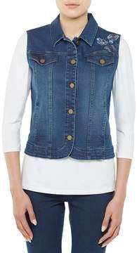 Allison Daley Floral Embroidered Denim Button Front Vest