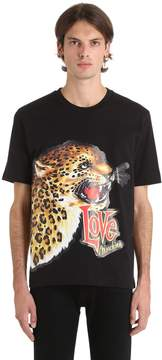 Love Moschino Leopard Patch Cotton Jersey T-Shirt