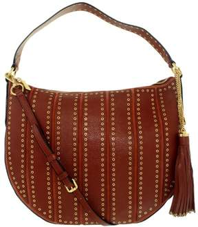 Michael Kors Women's Large Brooklyn Grommet Convertible Leather Top-Handle Bag Hobo - Brick - BRICK - STYLE
