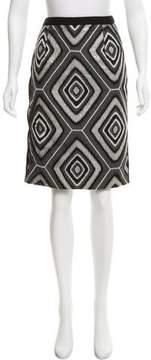 Andrew Gn Snakeskin-Accented Wool Skirt