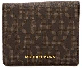 Michael Kors Brown Signature Canvas Jet Set Travel Logo Card Case - BROWN - STYLE