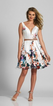 Dave and Johnny Plunging V-Shape Beaded Waist Floral Cocktail Dress
