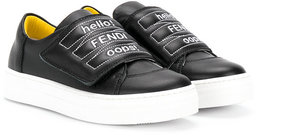 Fendi Kids embroidered touch strap sneakers