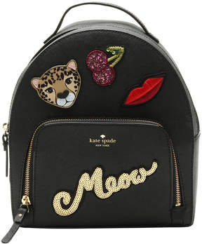 Kate Spade Black Leopard Tomi Run Wild Leather Backpack