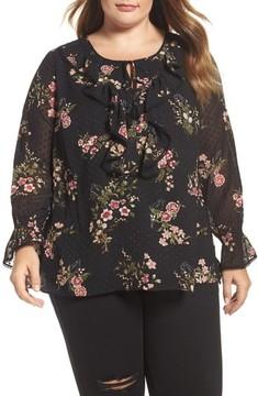 Daniel Rainn Plus Size Women's Ruffled Floral Print Blouse