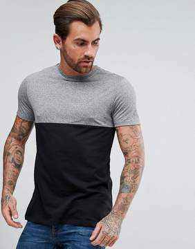New Look Color Block T-Shirt In Black And Gray