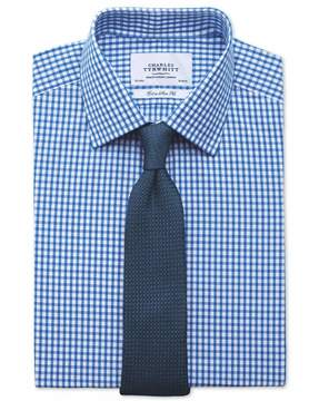 Charles Tyrwhitt Extra Slim Fit Gingham Royal Blue Cotton Dress Shirt French Cuff Size 14.5/33