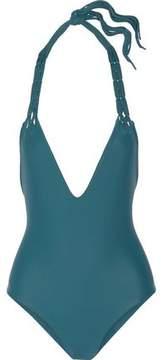 Mikoh Topanga Macramé-Trimmed Halterneck Swimsuit