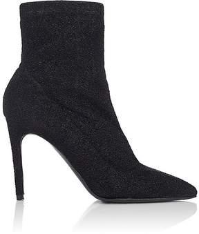 Barneys New York Women's Lula Sock-Style Metallic-Knit Ankle Boots