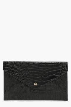 boohoo Amy All Over Croc Envelope Clutch