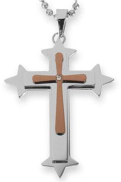 JCPenney FINE JEWELRY Mens Diamond-Accent Cross Pendant Necklace