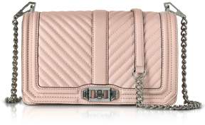 Rebecca Minkoff Vintage Pink Leather Chevron Quilted Love Crossbody Bag - PINK - STYLE