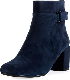 Neiman Marcus Zaza Suede Zip-Up Bootie, Blue