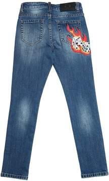 John Richmond Embroidered Stretch Denim Jeans