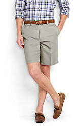 Lands' End Men's Big & Tall No Iron 9 Plain Front Comfort Waist Chino Shorts-Steeple Gray