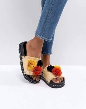 Sixty Seven SixtySeven Belle Natural Raffia Pom Slide Sandals