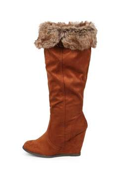 Qupid Fur Collar Boot