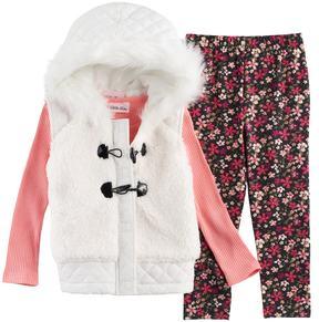 Little Lass Baby Girl Faux Fur Hooded Vest