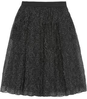 Brunello Cucinelli Pleated Embroidered Organza Midi Skirt