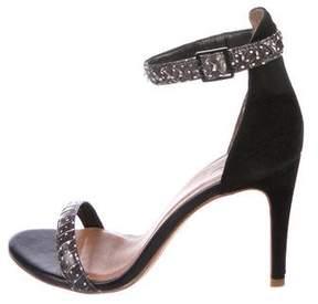 Joie Snakeskin Ankle-Strap Sandals