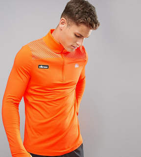 Ellesse Sport 1/4 Zip Long Sleeve T-Shirt In Orange