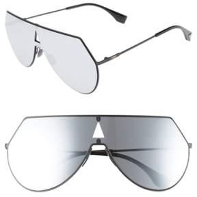 Women's Fendi 99Mm Eyeline Aviator Sunglasses - Matte Black