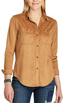 Chaps Women's Faux-Suede Work Shirt