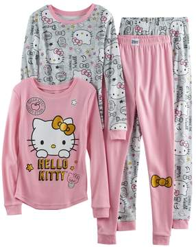 Hello Kitty Girls 4-10 4-pc. Long Sleeve Tops & Bottoms Pajama Set