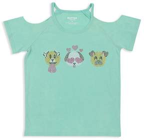Butter Shoes Girls' Embellished Puppy Cold-Shoulder Tee - Little Kid