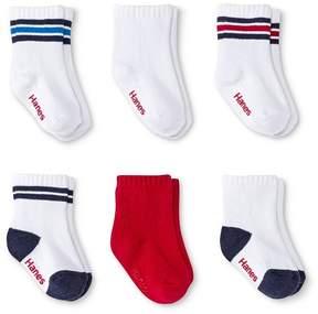Hanes Infant Toddler Boys' 6 Pack Crew Socks - Assorted