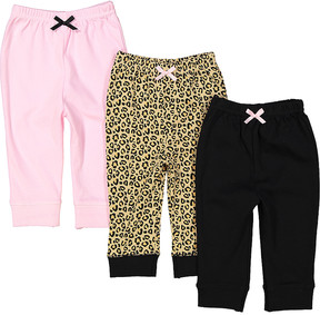 Luvable Friends Pink & Black Three-Piece Jogger Set - Newborn & Infant
