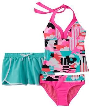 ZeroXposur Girls 7-16 Striped Floral Halterkini Swimsuit & Shorts Set