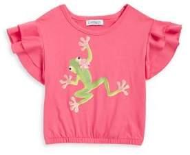 Flapdoodles Little Girl's Sequin Frog Ruffle Tee