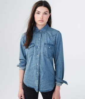 Aeropostale Long Sleeve Chambray Western Woven Shirt