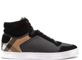 Burberry Reeth high-top suede-trimmed trainers