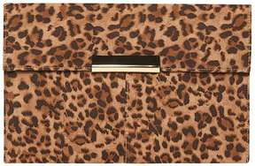 Leopard Faux Suede Clutch Bag